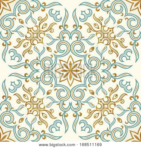 Vector seamless gold and blue pattern with art ornament. Vintage elements for design in Victorian style. Ornamental baroque background. Ornate floral decor for wallpaper. Endless texture