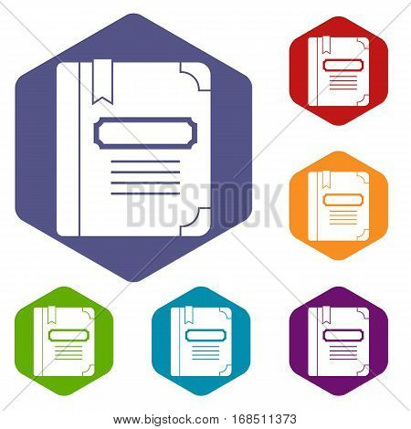 Tutorial with bookmark icons set rhombus in different colors isolated on white background