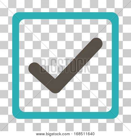 Checkbox icon. Vector illustration style is flat iconic bicolor symbol, grey and cyan colors, transparent background. Designed for web and software interfaces.