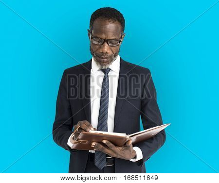 African Descent Business Man Notebook Portrait
