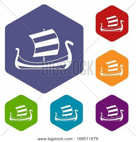 Medieval boat icons set rhombus in different colors isolated on white background