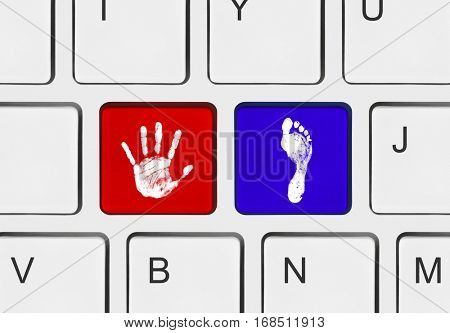 Computer keyboard with printout of hand and foot keys