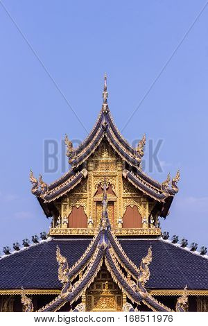 Teak Chapel In Wat Banden, Chiangmai Thailand