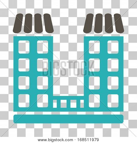 Company icon. Vector illustration style is flat iconic bicolor symbol, grey and cyan colors, transparent background. Designed for web and software interfaces.