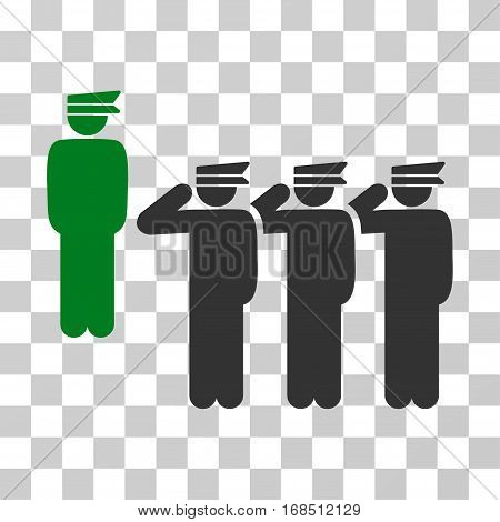 Army icon. Vector illustration style is flat iconic bicolor symbol, green and gray colors, transparent background. Designed for web and software interfaces.
