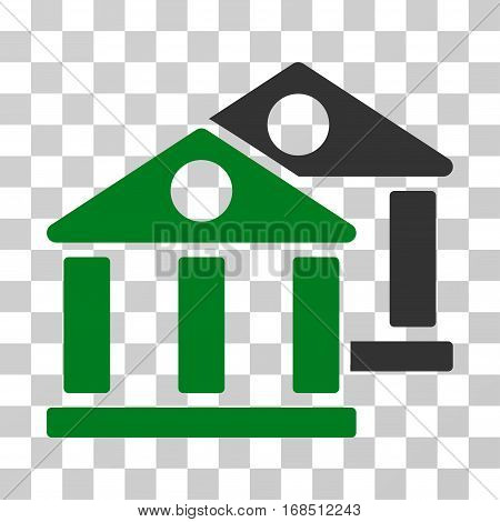 Banks icon. Vector illustration style is flat iconic bicolor symbol, green and gray colors, transparent background. Designed for web and software interfaces.
