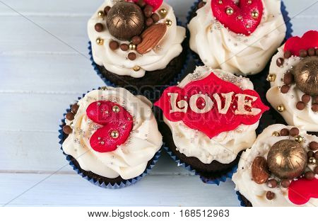 Birthday cupcake. Cupcakes for Valentine's Day. Love cupcake with heart.