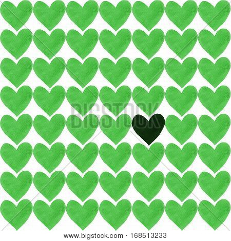 Dark green heart with a crowd of other greenery hearts. Deep green heart drawn by watercolor and a lot of light green separate hearts around.