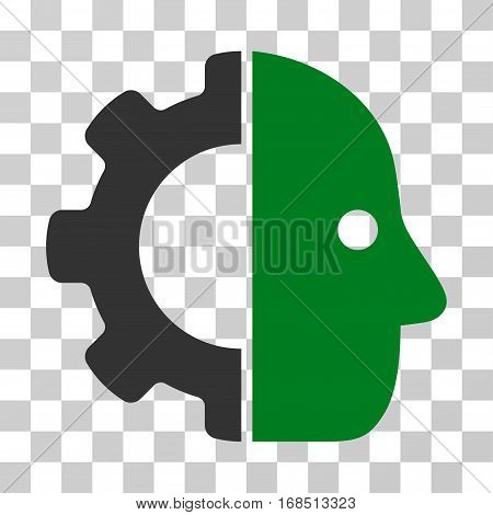 Cyborg icon. Vector illustration style is flat iconic bicolor symbol, green and gray colors, transparent background. Designed for web and software interfaces.
