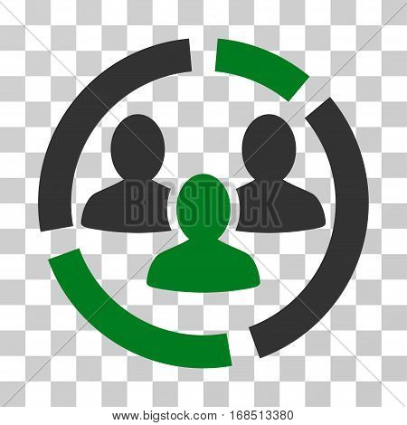 Demography Diagram icon. Vector illustration style is flat iconic bicolor symbol, green and gray colors, transparent background. Designed for web and software interfaces.