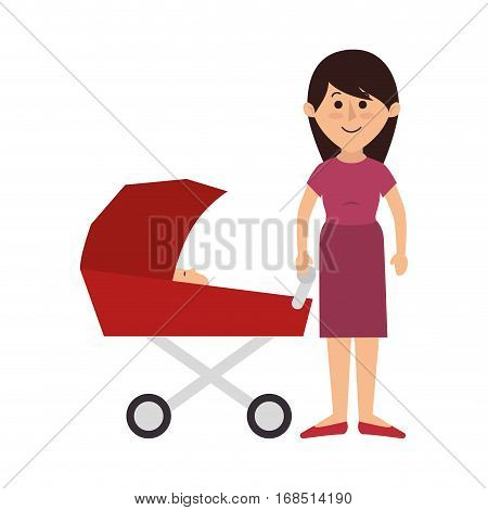 happy family members with baby car vector illustration design