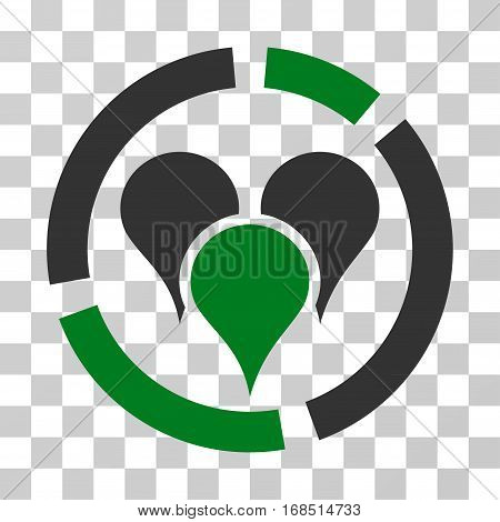 Geo Targeting Diagram icon. Vector illustration style is flat iconic bicolor symbol, green and gray colors, transparent background. Designed for web and software interfaces.