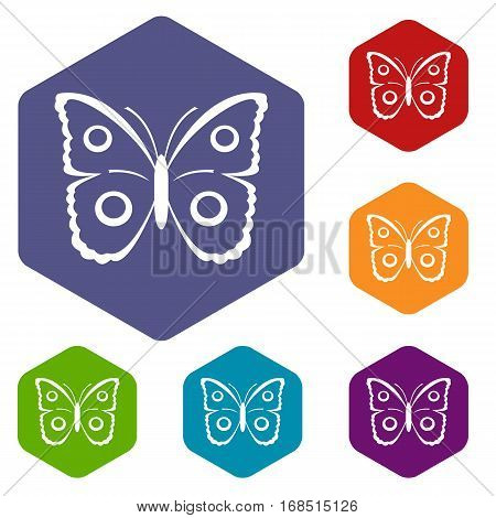 Butterfly peacock eye icons set rhombus in different colors isolated on white background