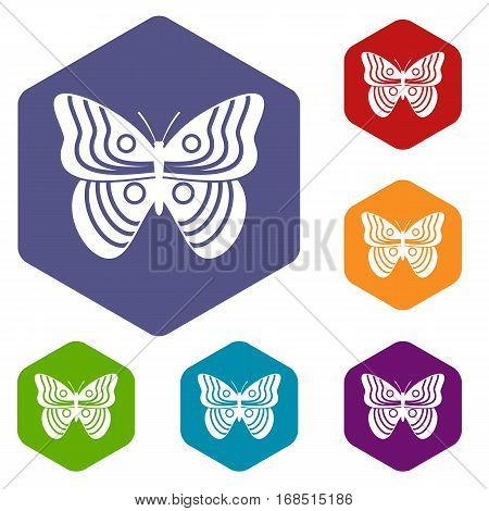 Stripped butterfly icons set rhombus in different colors isolated on white background