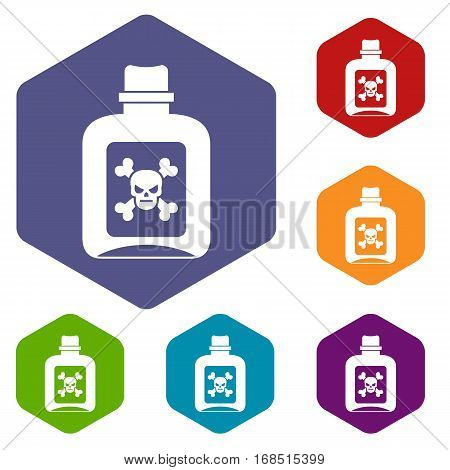 Poison icons set rhombus in different colors isolated on white background
