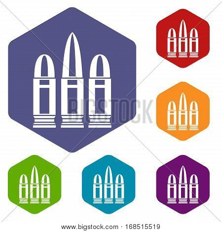 Cartridges icons set rhombus in different colors isolated on white background