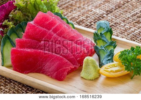 Japanese Traditional Food Sashimi With Salmon, Tuna And Shrimp Sashimi Or Shake / Sake Served With P