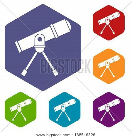 Space telescope icons set rhombus in different colors isolated on white background