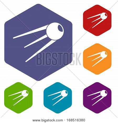 Sputnik icons set rhombus in different colors isolated on white background