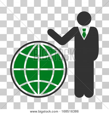 Planetary Manager icon. Vector illustration style is flat iconic bicolor symbol, green and gray colors, transparent background. Designed for web and software interfaces.