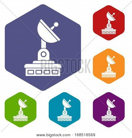 Satellite dish icons set rhombus in different colors isolated on white background