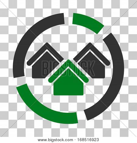 Realty Diagram icon. Vector illustration style is flat iconic bicolor symbol, green and gray colors, transparent background. Designed for web and software interfaces.