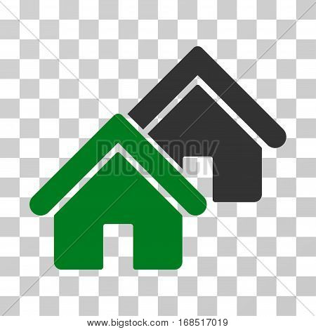 Realty icon. Vector illustration style is flat iconic bicolor symbol, green and gray colors, transparent background. Designed for web and software interfaces.