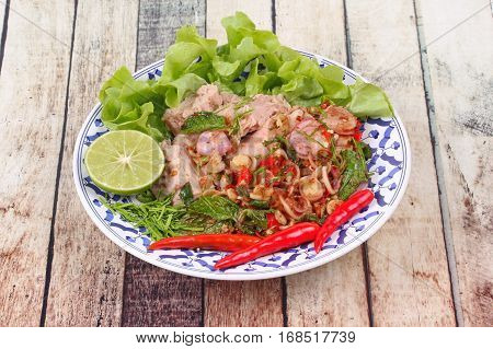 Spicy And Sour Mixed Herb Salad With Tuna Served .