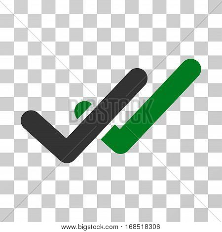 Validation icon. Vector illustration style is flat iconic bicolor symbol, green and gray colors, transparent background. Designed for web and software interfaces.