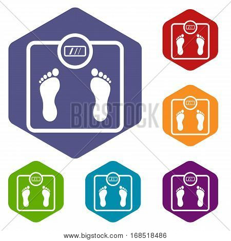 Floor scales icons set rhombus in different colors isolated on white background