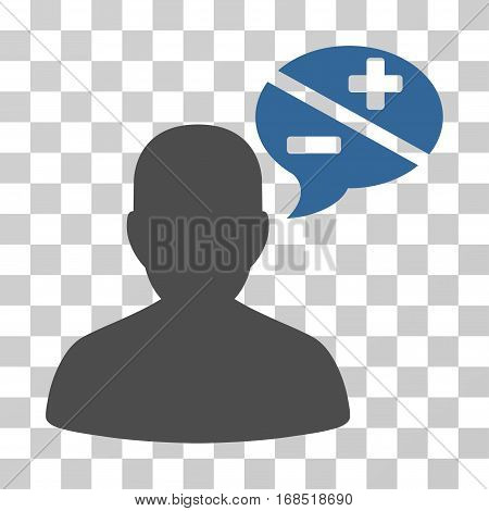 Person Arguments icon. Vector illustration style is flat iconic bicolor symbol, cobalt and gray colors, transparent background. Designed for web and software interfaces.