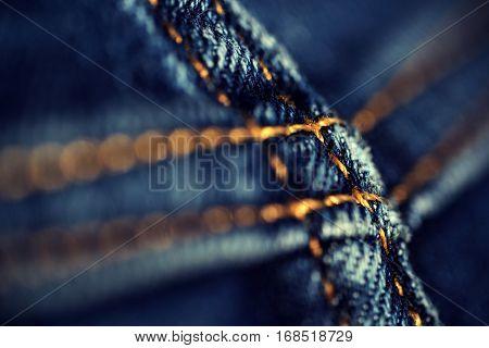 Closeup Denim Jean Stitch Detail