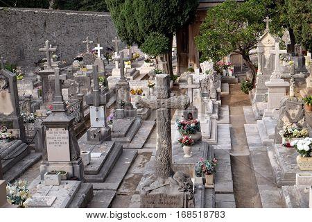 DUBROVNIK, CROATIA - DECEMBER 01: Cemetery in Boninovo district Dubrovnik city Dalmatia, Croatia on December 01, 2015.