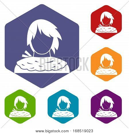 Male shorn icons set rhombus in different colors isolated on white background