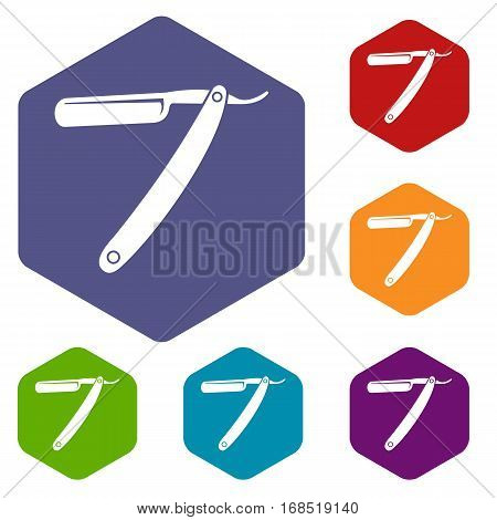 Razor blade icons set rhombus in different colors isolated on white background