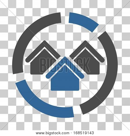 Realty Diagram icon. Vector illustration style is flat iconic bicolor symbol, cobalt and gray colors, transparent background. Designed for web and software interfaces.