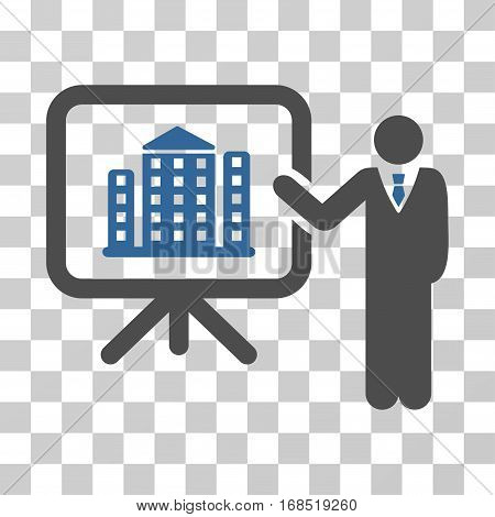 Realty Presention icon. Vector illustration style is flat iconic bicolor symbol, cobalt and gray colors, transparent background. Designed for web and software interfaces.
