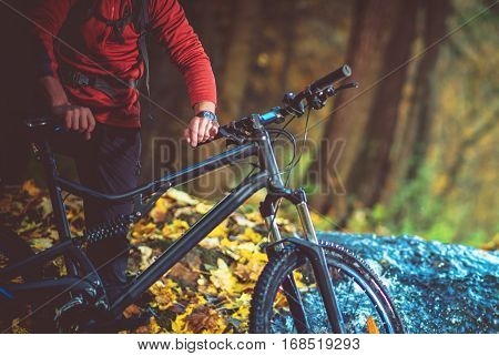 Recreational Bike Trip in Late Summer Day. Biking on the Forest Trail.