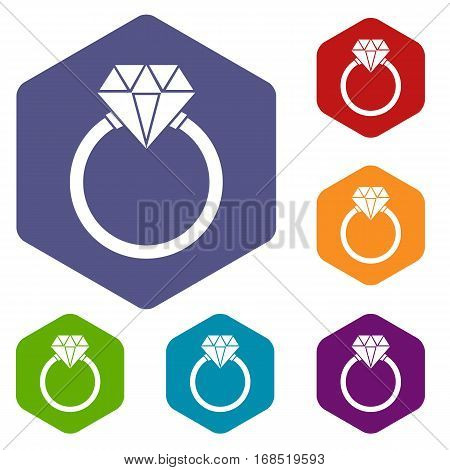 Ring LGBT icons set rhombus in different colors isolated on white background