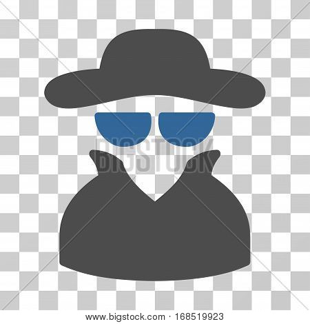 Spy icon. Vector illustration style is flat iconic bicolor symbol, cobalt and gray colors, transparent background. Designed for web and software interfaces.