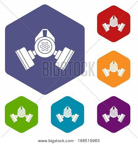 Gas mask icons set rhombus in different colors isolated on white background
