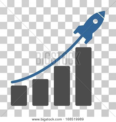 Startup Rocket Bar Chart icon. Vector illustration style is flat iconic bicolor symbol, cobalt and gray colors, transparent background. Designed for web and software interfaces.