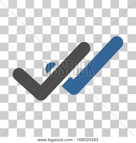 Validation icon. Vector illustration style is flat iconic bicolor symbol, cobalt and gray colors, transparent background. Designed for web and software interfaces.