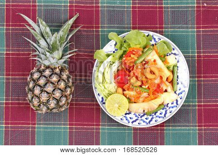 Spicy And Sour Vegetable Salad With Pineapple .