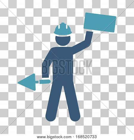 Builder With Brick icon. Vector illustration style is flat iconic bicolor symbol, cyan and blue colors, transparent background. Designed for web and software interfaces.