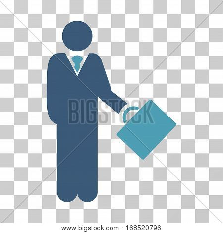 Businessman icon. Vector illustration style is flat iconic bicolor symbol, cyan and blue colors, transparent background. Designed for web and software interfaces.