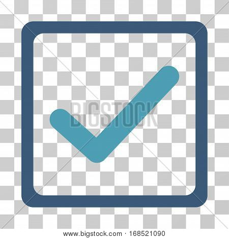 Checkbox icon. Vector illustration style is flat iconic bicolor symbol, cyan and blue colors, transparent background. Designed for web and software interfaces.