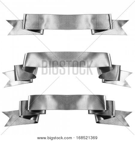 Silver banner ribbon set isolated on white background
