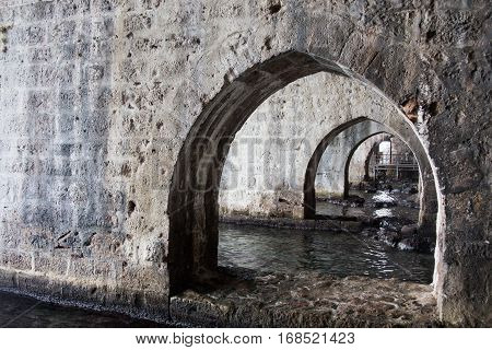 Arches inside shipyard of Alanya medieval castle
