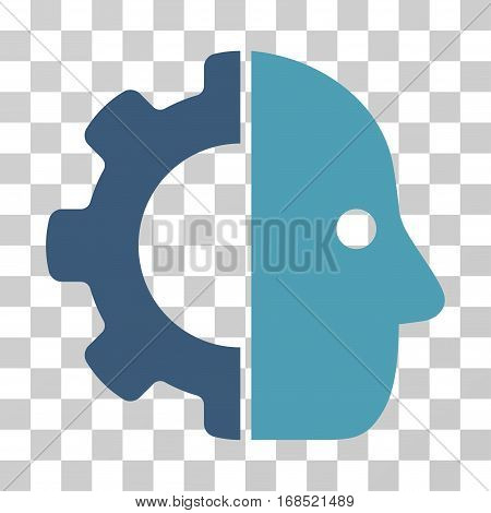 Cyborg icon. Vector illustration style is flat iconic bicolor symbol, cyan and blue colors, transparent background. Designed for web and software interfaces.